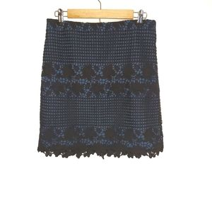 Ann Taylor Loft Black Crochet Over Navy Blue Skirt